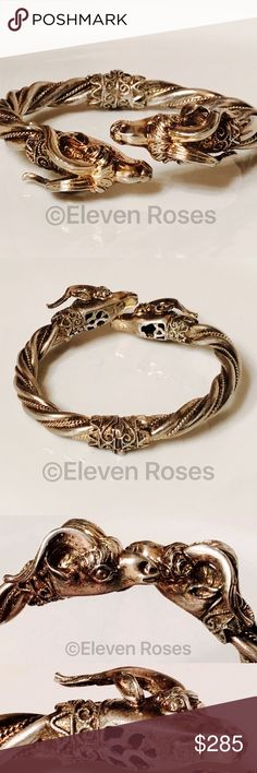 Vintage Sterling Silver Rams Head Hinged Bracelet Vintage Sterling Silver Rams Head Hinged Bangle / Cuff Bracelet - Weighs Approx 45 Grans - Gold Washed Milgrain Twist Design - Hallmarked; 925 (and unknown maker's mark) Vintage Jewelry Bracelets