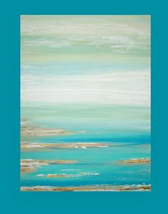 This is an original one of a kind acrylic abstract painting on gallery wrapped canvas with no visible staples by Ora Birenbaum. Really a lovely coastal painting with beautiful soft shades of sea foam, spa blues, and white that melt down into shades of aqua and ocean blues. There are accents of sand and taupe with touches of metallic pewter and gold for a bit of shimmer to the piece. Very soft in person and very lovely. This painting is very neutral and would fit beautifully into any decor…