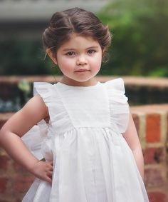 White Flutter-Sleeve Bow Dress - Toddler & Girls