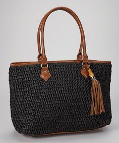 Take a look at this Black Tassel Tote by Straw Studios on #zulily today!