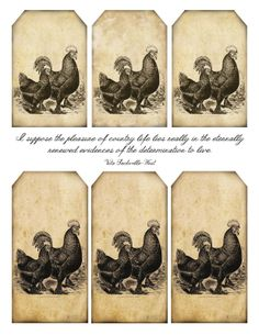 4 Best Images of Primitive Printable Tags - Free Printable Primitive Labels, Free Printable Vintage Christmas Gift Tags and Primitive Printables Vintage Tags, Vintage Labels, Vintage Ephemera, Chicken Crafts, Chicken Art, Primitive Labels, Decoupage, Printable Tags, Free Printables