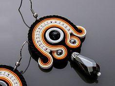 Black orange Soutache earrings with Onyx and Hematite.