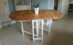 Shabby chic solid pine drop leaf gateleg table in Laura Ashley White on Gumtree. Newly refurbished A gorgeous solid pine gateleg table painted in Laura Ashley Country White eggs