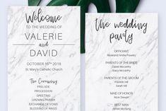 Printable Wedding Program Ceremony Template Marble Program | Etsy Diy Wedding Programs, Printable Wedding Programs, Wedding Ceremony, Opening Prayer, Program Template, Programming, Texts, Marble, Printables