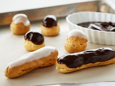 Look at this recipe - Profiteroles & Éclairs - from Anna Olson and other tasty dishes on Food Network. Anna Olson, Food Network Uk, Food Network Canada, Food Network Recipes, Pasta Choux, Choux Pastry, Afternoon Tea Parties, Chocolate Glaze, Chocolate Eclairs