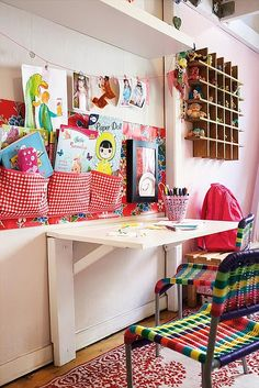 I think I really want a fold-away desk in the kids art space! This could be a good space saving idea! Fold Away Desk, Kids Art Space, Kids Artwork, Drop Down Desk, Casa Kids, Colorful Desk, Colorful Rooms, Colorful Chairs, Deco Kids