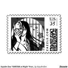"""SajuArt Zen """"SAKURA at Night"""" Postage Stamp"""
