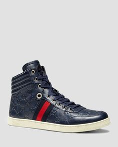 Gucci Guccissima Leather High Top Sneakers | Upper leather; Lining:Leather/textile | Imported | Guccissima leather with leather and signature web detail  | Interlocking G detail | Rubber sole | Item i