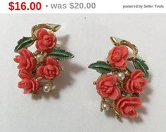 Earrings  Carved Celluloid Roses Clip Earrings Coral Color