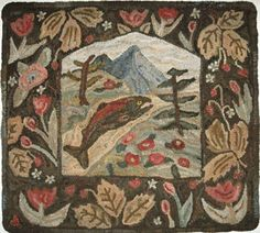 Items similar to NorthwestFolkDesign Hand Hooked Rug The Valley Pattern by Marijo Taylor Rug Hooking Patterns Hand Hooked Rug Primitive Pattern x on Etsy Rug Hooking Kits, Rug Hooking Patterns, Locker Hooking, Primitive Patterns, Hand Hooked Rugs, Penny Rugs, Rug Making, Wool Rug, Embroidery