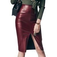 Leather Women's Skirt Vintage PU Solid Slim Knee-length  Fashion Split Sexy