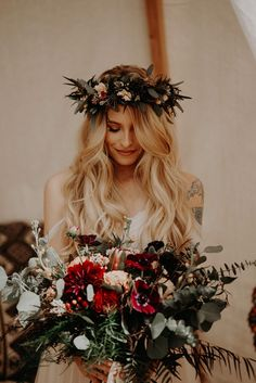 Bohemian brides will love the bold flower crown, off-the-shoulder wedding dress, and earthy bouquet in this Wind Wolves Preserve | Image by Rubi Z Photography