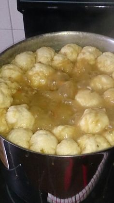 Soup with dumplings South African Dishes, Dumplings, Cheeseburger Chowder, Soup, Cooking, Kitchen, Soups, Brewing, Cuisine