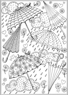 Spring rain umbrellas Free printable coloring page from  Dover Publications