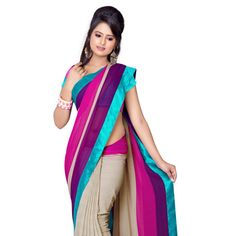 Magenta, Fuchsia and Light Beige Faux Chiffon Saree with Blouse