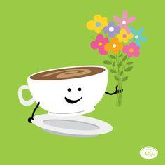 Cute! Cute Coffee Cups, Cute Mugs, I Love Coffee, My Coffee, Coffee Drinks, Coffee Break, Cute Good Morning, Good Morning Coffee, Good Morning Messages