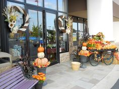 Store front fall decor