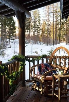 ˚Montana mountainside log home porch in wintertime ...looks a lot like my porch...