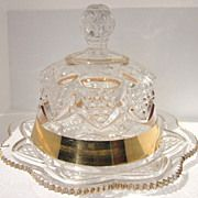 EAPG 1897 George Duncan Button & Arches Gold Band, Lid Butter Dish