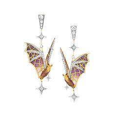 "Night Friends AR-267. 18 kt yellow gold earrings with ""pliqué-à-jour"" and ""basse taille"" fired enamel and diamonds.  #jewelry #artnouveau #enamel #barcelona"