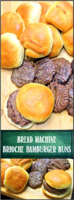 "Brioche Hamburger Buns from a Bread Machine - 52 Secret Grilling Time Extras... This is my GOTO ""Buns"" recipe.  Bread Machine easy, just dump the ingredients, allow the machine to do the work (Mix, Knead and first Rise) - Shape the bins and bake.  Delicious, soft and moist, perfect for burgers with that amazing golden brown and delicious look and flavor!"