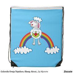Colorida Oveja Tejedora. Sheep. Arcoiris, rainbow. Regalos, Gifts. #mochila #backpack
