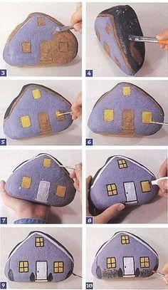 Piedras-decoradas-con-forma-de-casa
