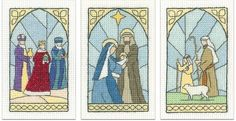 Stained Glass Christmas Cards - Set of 3 cross stitch kits