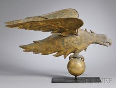 845: Gilt Copper Eagle Weather Vane, in the style of A.