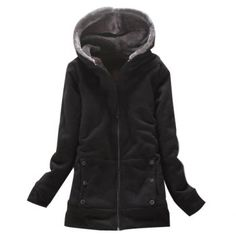 Laconic Hooded Zipper Design Solid Color Long Sleeve Thicken Slimming Fleece Women's Coat (BLACK,ONE SIZE) At Price 13.73 - DressLily.com