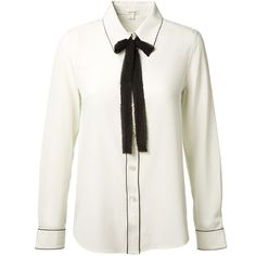 Marc Jacobs Pussy-Bow Silk Shirt (62.075 RUB) ❤ liked on Polyvore featuring tops, white silk shirt, white silk top, white shirt, white tops and shirts & tops