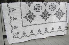Quilt Hand Embroidered and Quilted Black and White by emtextiles