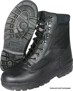 Mil-com Patrol Boots - Black Super action black boots made from black leather and 1150D Cordura The Mil-com boots also feature Cambrella lining