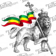 Ethiopia Flag Coloring Page Rasta Art, Rasta Lion, Haile Selassie, Lion Tattoo Meaning, History Of Ethiopia, Ethiopian Flag, Side Tat, African Tattoo, Classy Tattoos