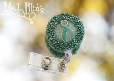 Beaded badge reel -Teal Ovarian / Cervical Cancer Awareness