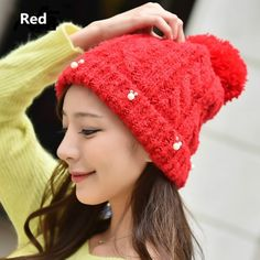 Hairball knit hats Pearl decoration womens hat for winter