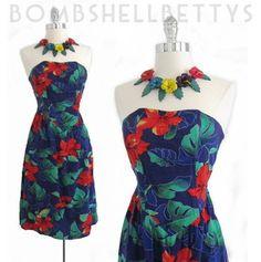 Vintage 1980's 50's style strapless Hawaiian dress.