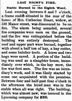 Genealogical Gems: On This Day: Stable burned