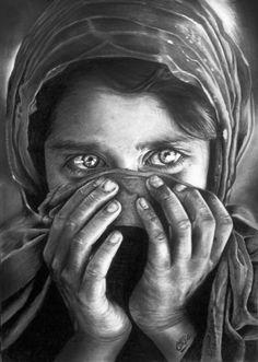 my art portrait pencil Portrait sharbat gula My hope is that all you like this portrait