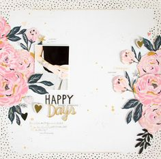 Happy Days by ScatteredConfetti. Scrapbook Paper Crafts, Diy Scrapbook, Scrapbooking Layouts, Scrapbook Pages, Wedding Scrapbook, Digital Scrapbooking, Wedding Collage, Cute Phrases, Foam Letters