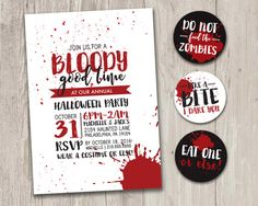 Printable zombie invitations for a teen zombie party a little halloween party invitation a bloody good time zombie slasher vampire pary invitation stopboris Gallery
