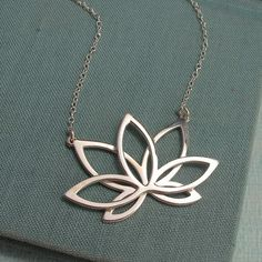 "Lotus Necklace - 1.5"" Silver - Lala Jewelry"