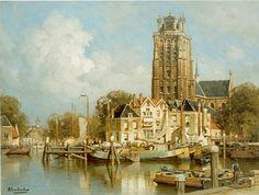 Johannes Christiaan Karel Klinkenberg (Den Haag 1852-1924) Gezicht op Dordrecht - Kunsthandel Simonis en Buunk, Ede (Nederland).
