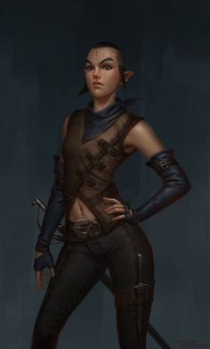 "f Wood Elf Rogue Thief Leather urban river forest hills farmland coastal desert underdark we-are-rogue:  ""Elf Bandit by RadialArt  """