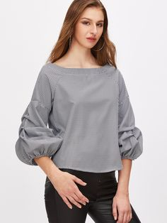 SheIn offers Gingham Plaid Boat Neck Lantern Sleeve Blouse & more to fit your fashionable needs.To find out about the [good_name] at SHEIN, part of our latest Blouses ready to shop online today! Blouse Styles, Blouse Designs, Hijab Style, Blouse Online, Blouse Dress, Fashion Tips For Women, Asian Fashion, Casual Looks, Blouses For Women
