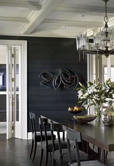 Kara Mann design for Lake Shore Estate. Love the dark wall covering