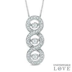 Unstoppable Love™ 1/3 CT. T.W. Diamond Linear Three Stone Pendant in 10K White Gold Zales