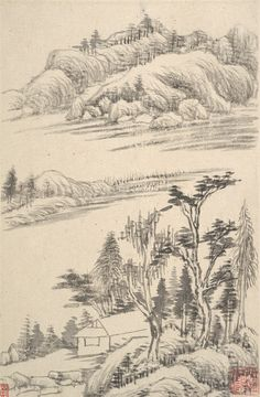 Landscapes, dated 1630 Dong Qichang (Chinese, 1555–1636) Album of eight paintings; ink on paper; 9 5/8 x 6 5/16 in. (24.4 x 16 cm) Four paintings and two facing pages inscribed by the artist