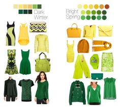 """""""Dark Winter vs Bright Spring - Yellows and Greens"""" by thewildpapillon ❤ liked on Polyvore featuring WalG, GUESS by Marciano, Oasis, Karen Millen, Magaschoni, Ezra, Puma, River Island, Jane Norman and Tiger of Sweden"""