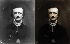 Edgar Allan Poe photograph realistically colorized by photo artist, Dana Keller, of History in Color.